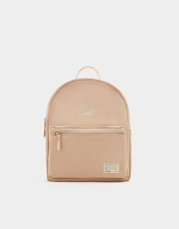 Nude fabric mini backpack with slogan - Bags - Accessories - Woman - PULL&BEAR United Kingdom