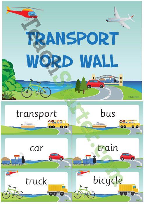 Transportation Word Wall Vocabulary Teaching Resources – Teach Starter