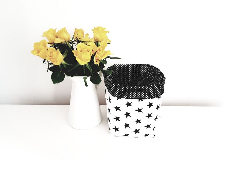 Fabric storage basket, organizer, monochrome, stars, black and white. Nappy basket, toy storage, nursery decor, kids room.FREE UK DELIVERY by MeaBeeDesign on Etsy