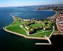 Fort Independence on Castle Island in Boston Harbor, Massachusetts.