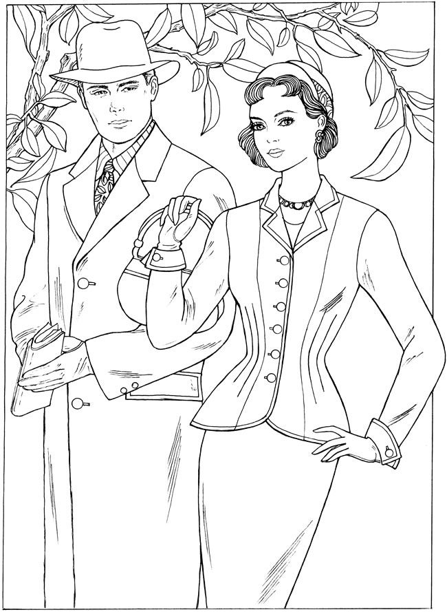 Vintage coloring pages 1950s ~ Pin by DeAnna Lea on Color People & Fashion | Adult ...