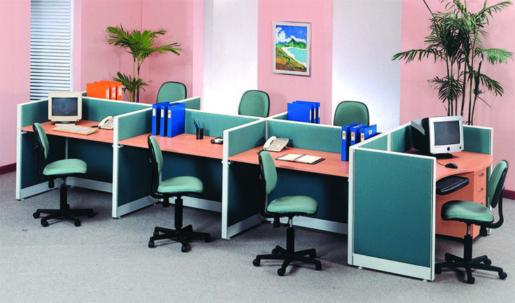 www.shineofficefurniture.com Partisi kantor Full fabric 7 Staff konfigurasi.