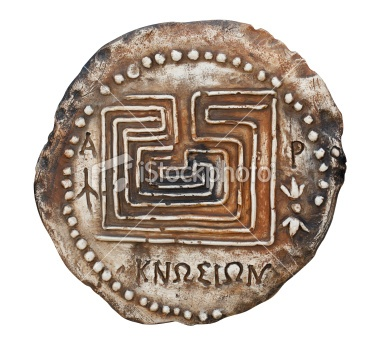 Replica of the most ancient Cretan coin Royalty Free Stock Photo