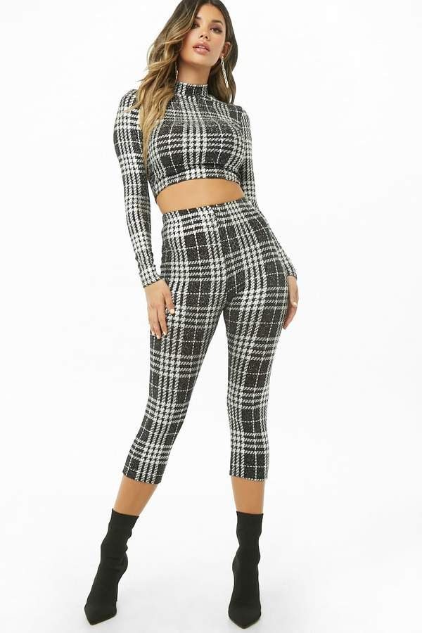 f832458fc4fe Forever 21 Plaid #Crop #Top & #Leggings Set. A glitter knit matching ...