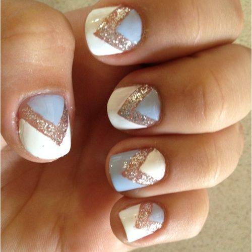 blue gold and creme chevron nails!