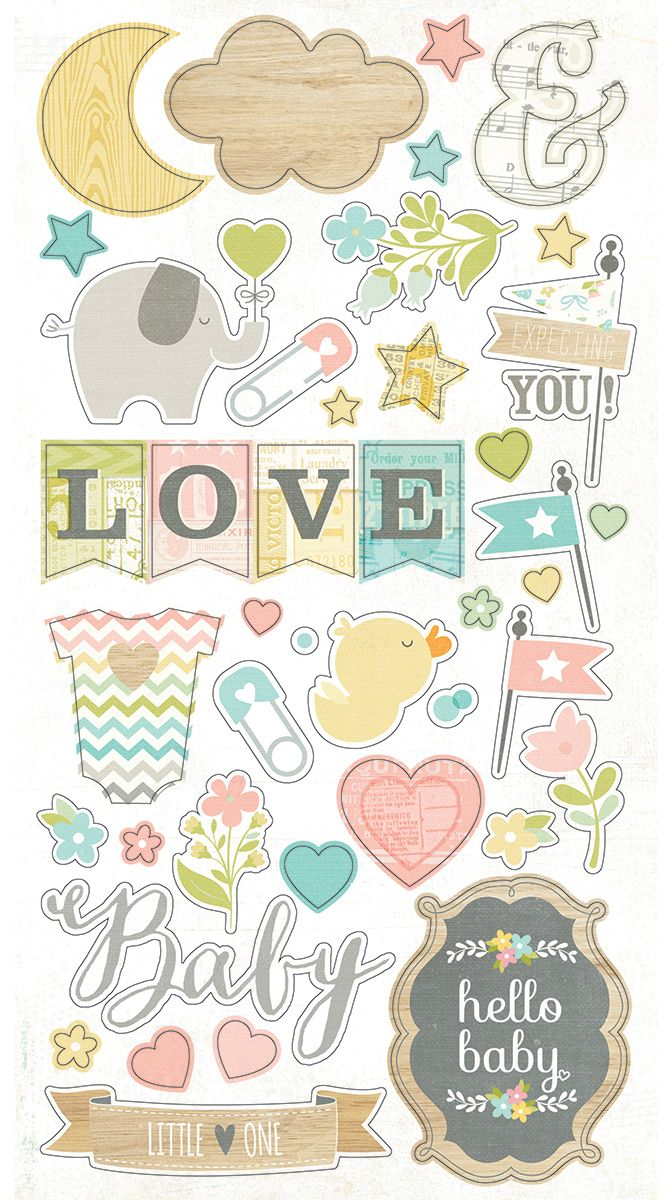 Includes (1) 6x12 die-cut chipboard sticker sheet