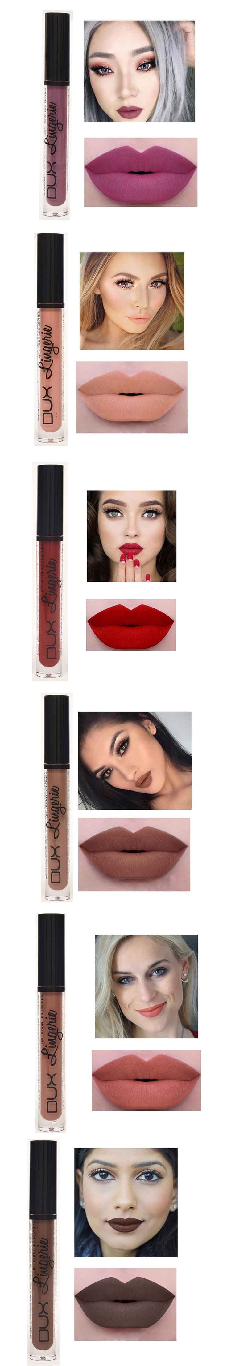 2017New!! Brand Makeup Lipstick Matte Lipstick Brown Nude Chocolate Color Liquid Lipstick Lip Gloss Matte Batom Matte lip glaze