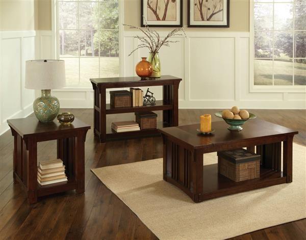 Artisan Loft Craftsman Oak Wood Coffee Table Set