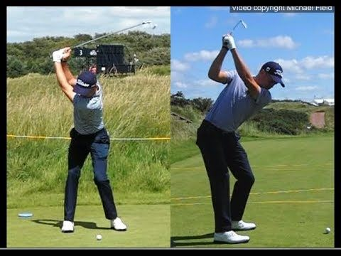 Justin Thomas golf swing - Long Iron (face-on & down-the-line), July 2017. - YouTube