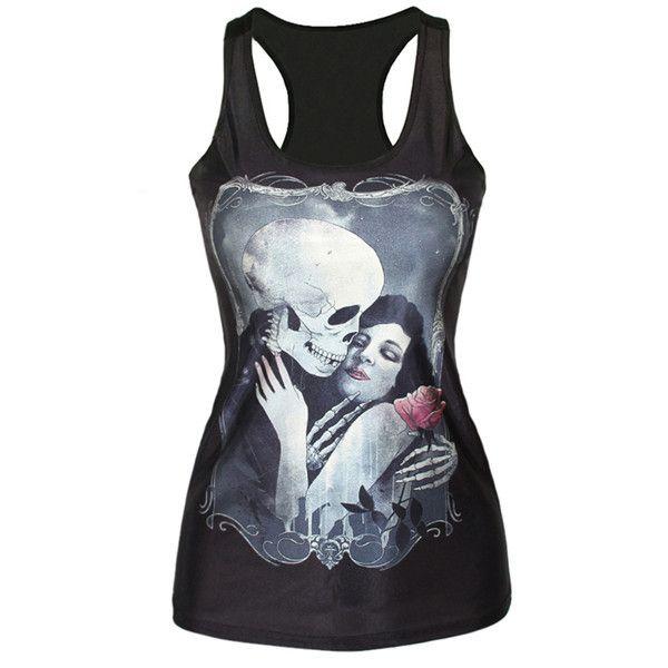 Skull Love Black Tank Top