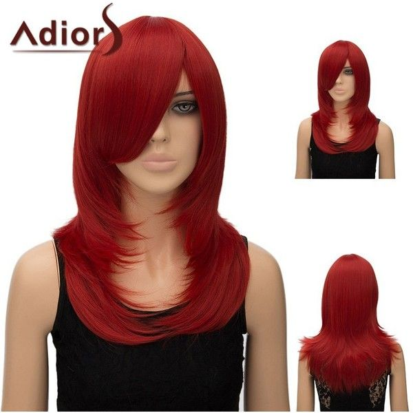 Adiors Inclined Bang Long Tail Adduction Straight Cosplay Anime Wig (24 CAD) ❤ liked on Polyvore featuring beauty products, haircare and hair styling tools