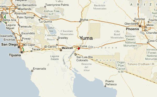 Yuma Arizona Map Otros Lugares Cercanos A Yuma