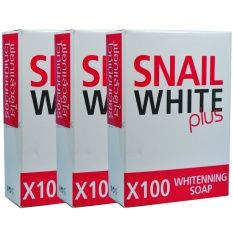 Snail White Plus Whitening Soap x 100สบู่หอยทาก สเนล ไวท์ พลัส ไวท์เทนนิ่ง โซป สูตรเร่งผิวขาว(3ก้อน)