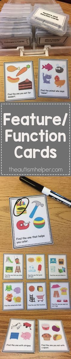 Need to work on building up vocabulary skills? Here are some great feature/function identification vocabulary task cards to use with your students!! From http://theautismhelper.com #theautismhelper