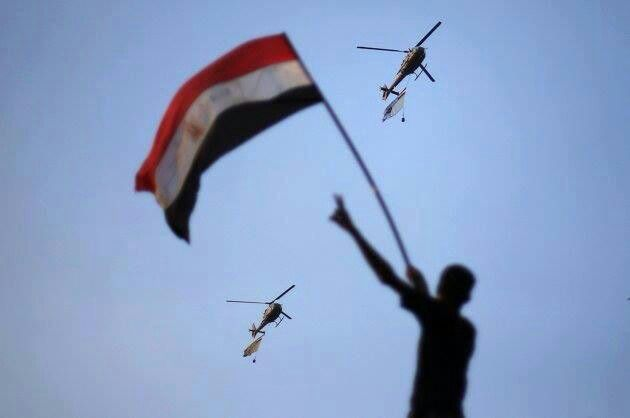 Egyptian army helicopters protecting demonstrations
