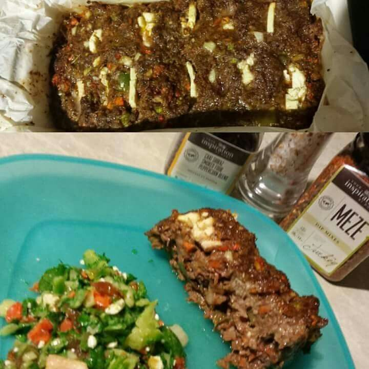 Meze Feta Meat loaf.... 500g mince 1/4 capsicum chopped 1/2 onion, diced 1/2 carrot, diced 2 tbspn Tomato paste 1/2 cup rice bread crumbs 1 egg 2 tbspn YIAH Meze Dip mix Mix together place in loaf tin lined with baking paper. Add slices of feta throughout Bake at least 180° for 30- 40 minutes Serve with salad. ..