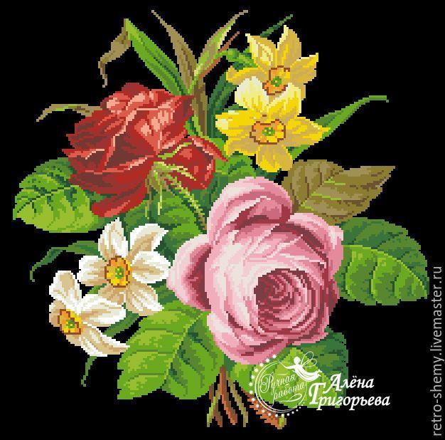 """Купить Схема вышивки """"Розы и нарциссы"""" - схема для вышивки, схема для вышивки крестом, схема вышивки"""
