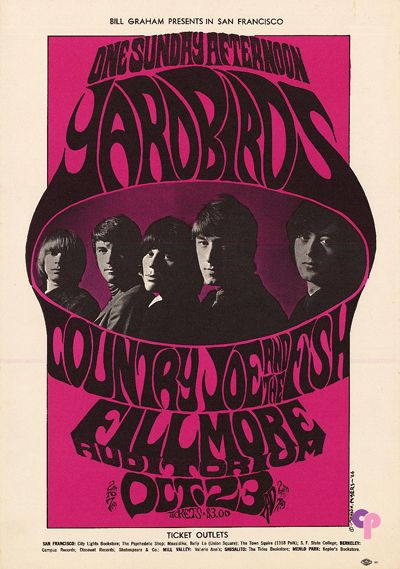 Yardbirds at Fillmore Auditorium 10/23/66 by John H. Meyers