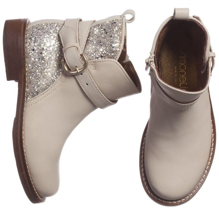 Simonetta - Girls Beige Glitter Leather Boots | CHILDRENSALON