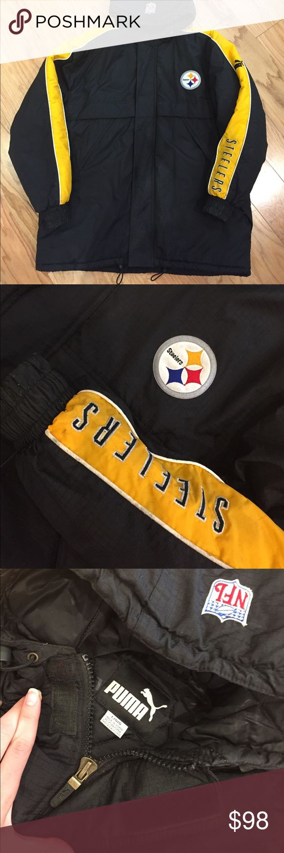 Men's puma NFL Pittsburgh Steelers Jacket L large Collectable Steelers puffer Jacket in a men's size large NFL by puma! In good condition. NO holes or rips! A few minor marks from wearing. Puma Jackets & Coats Puffers
