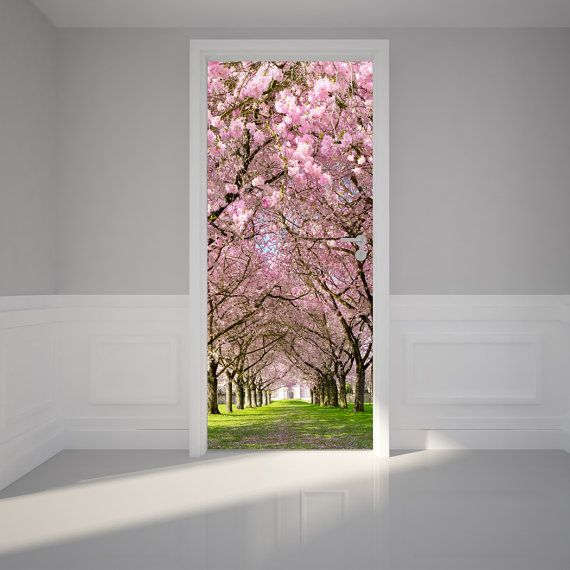 """Door Wall Sticker Cherry Blossoms Place - Self Adhesive Peel & Stick Repositionable Fabric Mural 31""""w x 79""""h (80 x 200cm)"""