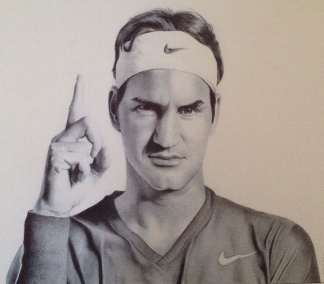 Roger Federer by Lucinda Neethling Bic pen on paper  #ballpoint #drawings #illustrations #RogerFederer www.whatlucyloves.co.za