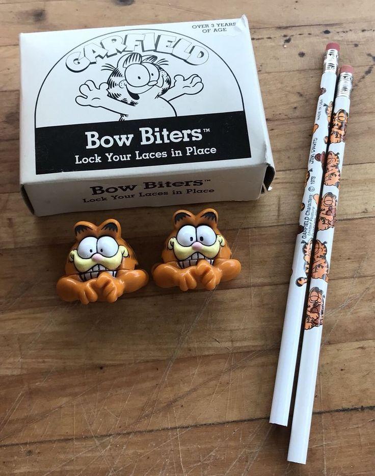 Garfield Bow Biters For Shoe Laces Jim Davis Pencil Lot 1978 Retro Collectible  | eBay