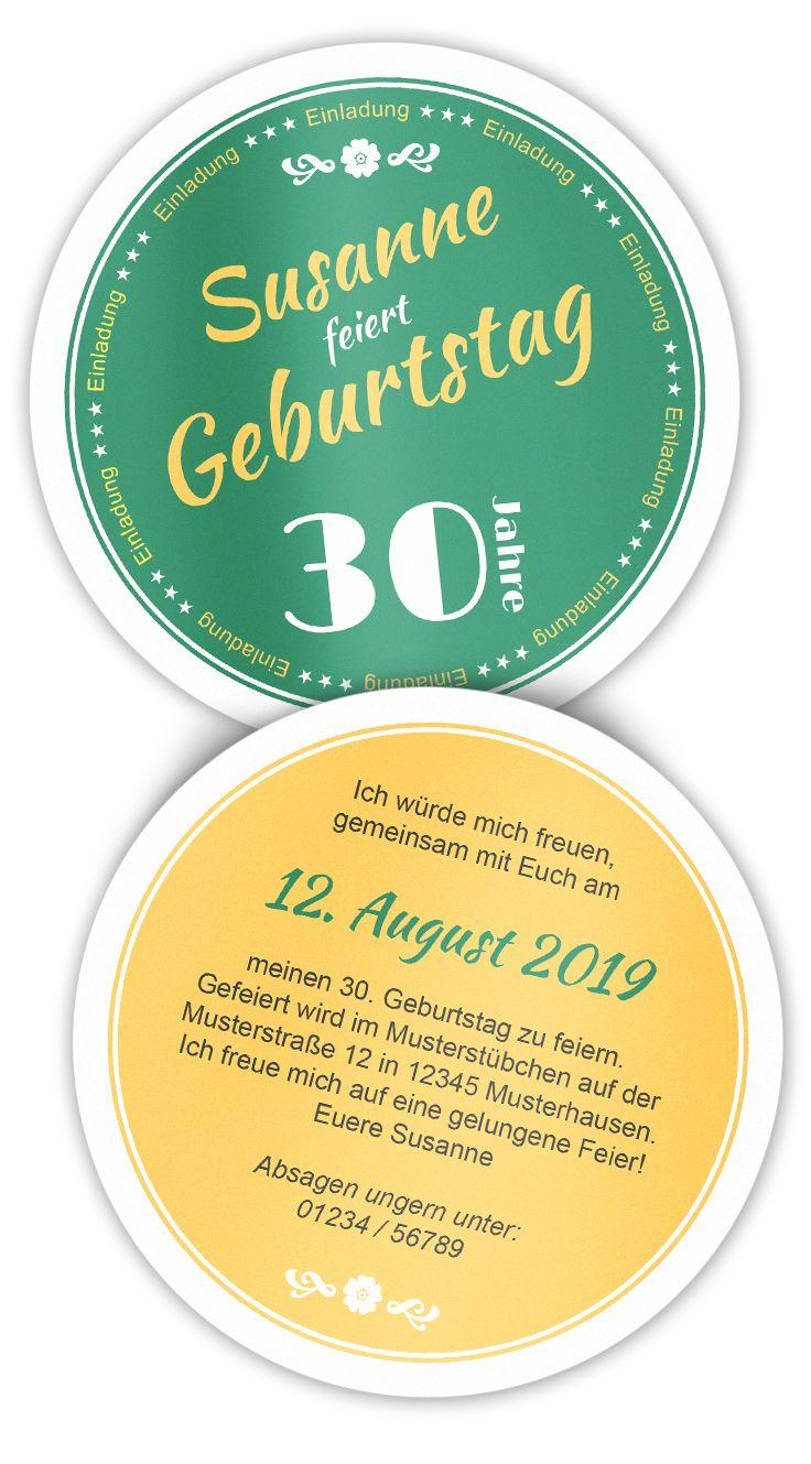 Geburtstagseinladung Bieruntersetzer Schlicht: Die ausgefallene Einladung für Ihren Geburtstag! Einfach den Text anpassen und bestellen ;-)