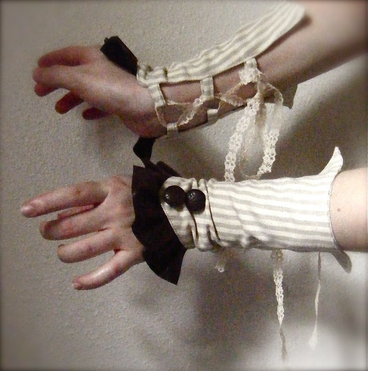 Devise A Pair Of Striped Steampunk Gauntlets W Faux