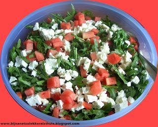 Salade van rucola, watermeloen en feta
