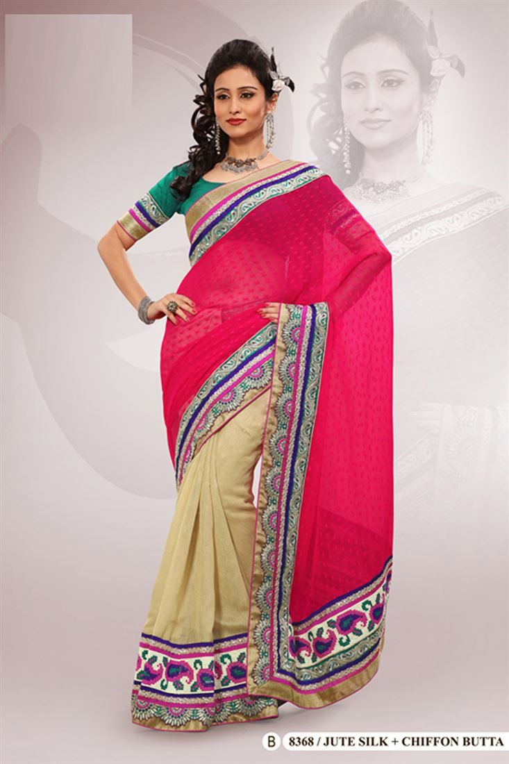 Red Jute Silk,Chiffon Embroidered Saree With Blouse