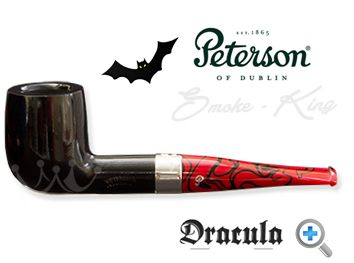When the Dracula x 105 pipe by Peterson was released in 2011 they sold out in the United Kingdom within hours. You really can see why. Sitting beautifully between the flawless black ebony bowl and the striking red and black marbled fishtail mouthpiece, there is a perfectly proportioned nickel band with the Dracula name etched on to it. Peterson has entered the dark side but the Dracula pipe is a handsome, well-balanced piece of art.