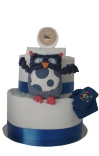 Spotty Owl Two Tier Nappy Cake    $75.00  24 Huggies newborn nappies  2 White muslin wraps  Spotty Owl with rattle  Botty balm  Newborn socks  Cotton face washer