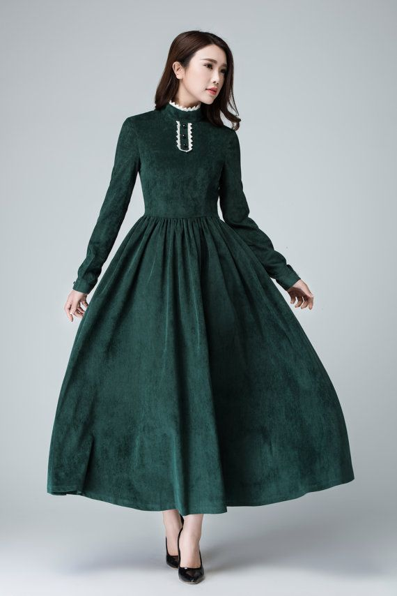 Green Corduroy dress, maxi dress ,women long dress, prom dress ,Elegant Dress ,Retro Dress  1471