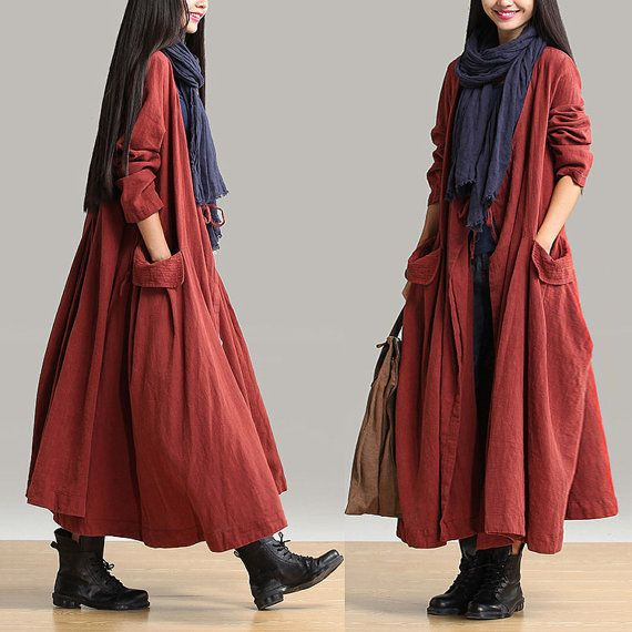 Autumn winter long coat long sleeve big pockets linen maxi top