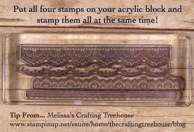Tip for using the Delicate Details Sale-A-Bration Stamp Set. Tip from Melissa Kerman, Stampin' Up! demonstrator since 2003.