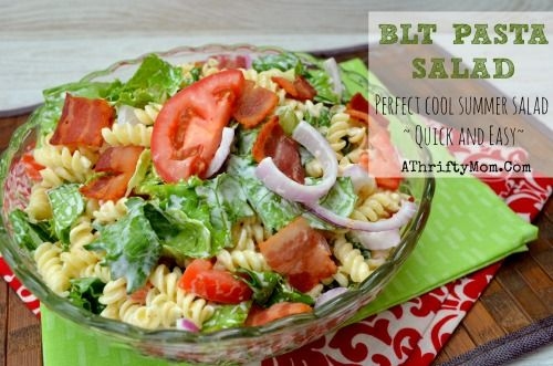 BLT Pasta Salad Recipe, Quick and easy perfect meal for a hot summer day #pasta #BLT #Summer Recipe #saladSummer Day, Summer Recipe, Summer Salad, Quck Dinner, Pasta Salad Recipe