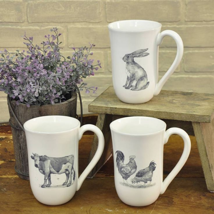 """Serve up your morning coffee or tea in counrty farmhouse style! These Farmyard Mugs have truly unique designs with amazing character. And best of all, they are a set of three, featuring different barnyard friends. Oversized mugs hold 18 ounces and measure 6""""H x 4""""Dia #country #farmhouse #kitchen #mug"""