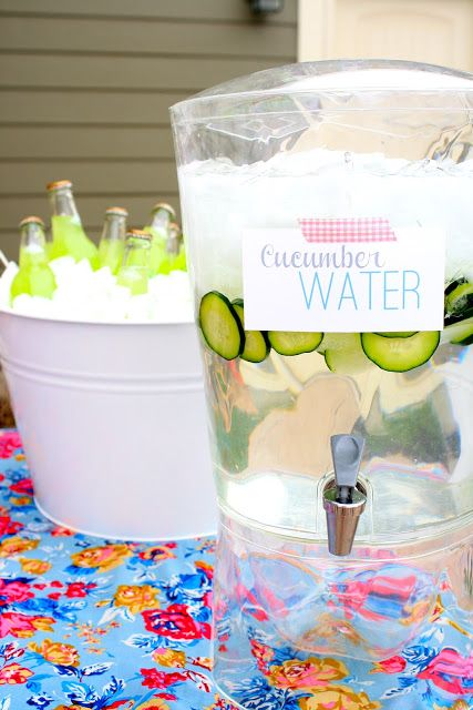 Outdoor Baby Shower. Cucumber water is so refreshing!