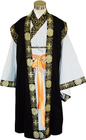 Chinese traditional dress clipart black