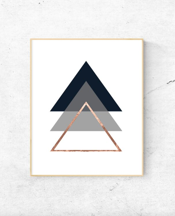 Free Printable Geometric triangles rose gold wall art
