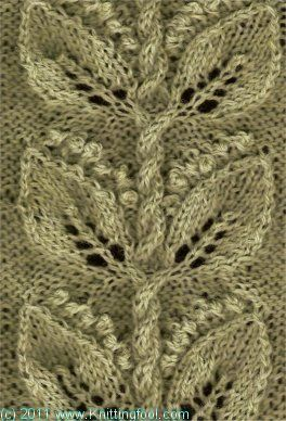 Lily of the Valley 2 - Knittingfool Stitch Detail - beautiful knit stitch (leaves & cabled twigs):