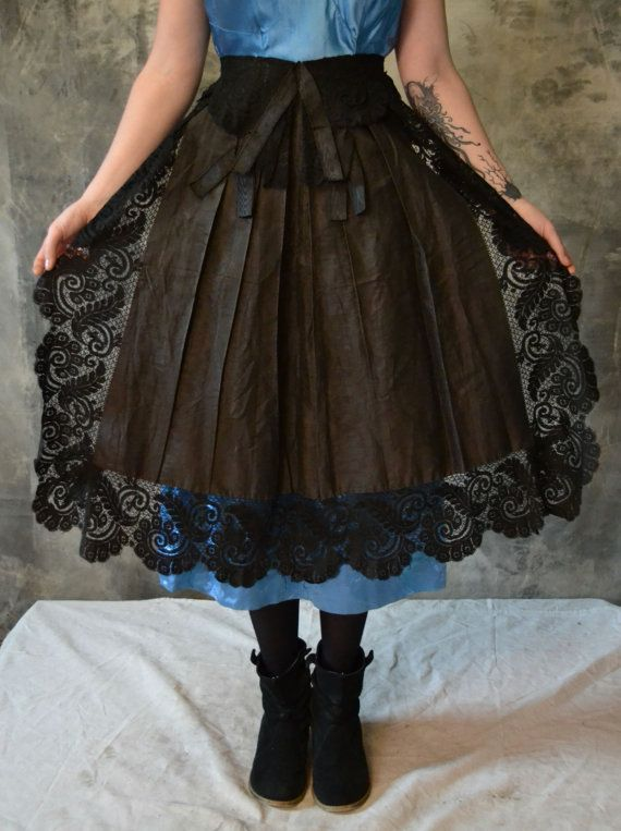 Victorian Steampunk Moiré Black Lacetrimmed Apron by Petrune, $75.00. Fabric choice makes quite a difference!