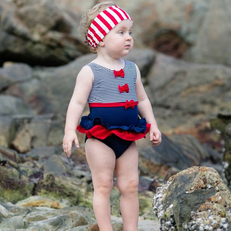 Mitty James - Baby Girls Navy Blue Swimming Costume with Nappy | Childrensalon