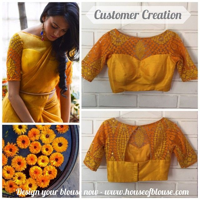 Customer Creation ❤  One of our lovely customers created a variation of our popular marigold coloured blouse by adding an embroidered sheer yoke to her order..check out our actual design on the left.  Our design web app is so simple and fun to use and is quite amazing to CUSTOMIZE your style and shop for it at the click of a button! Try it :) For any assistance we are available at: +91 8105068601. *Shipping worldwide now*  #saree #blouse #bollywood #indianwear #yellow