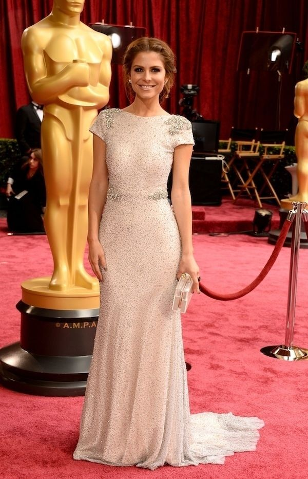 Maria Menounos in Johanna Johnson   All The Most Beautiful Blush Gowns From The Oscars Red Carpet