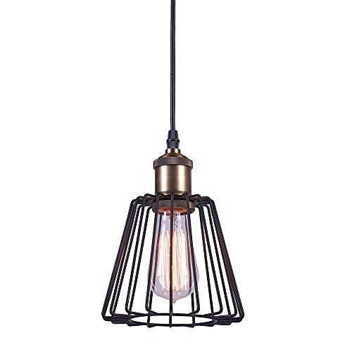 """Track Lighting Pendants One-Light Vintage Industrial Anti Brass Adjustable Pendant Lighting with Metal Lamp Shade and Black Cord Kitchen Lamp Shade - Type: Industrial Edison Style Adjustable Mini Pendant Light. Dimension: D:6.29"""", H:8.54"""". Shipping Weight: 1.10 pounds . Style: contemporary/vintage/transitional/art deco/casual. Bulb Base: E26. Bulb Type: Incandescent, LED Bulb Included: no Voltage: 110-120V (U.S. standard line voltage) Maximum ..."""