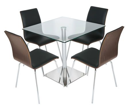 beautiful square glass dining table set with 4 walnut black padded chairs