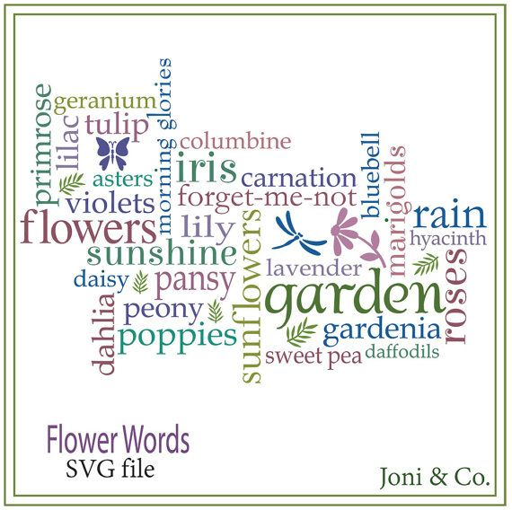 Garden Sign SVG File, Garden Words, Flowers, Herbs, Glass Block Design, Sale- 25% off purchase of 12 dollars or more. Use: SVGSALE