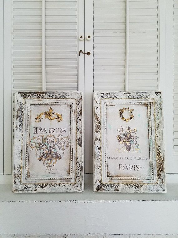 Set Of Two French Wall Decor Framed Paris Wall Hanging French Country White Distressed Hand Painted Home Decor Frame Wall Decor Paris Wall French Country Decorating